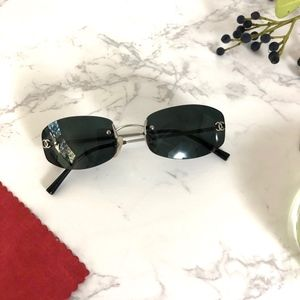 CHANEL Rimless Black Logo 4002 Sunglasses